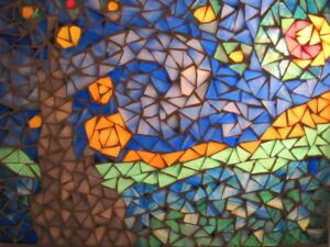Üvegmozaik Van Gogh nyomán - mozaik dekoráció készítés