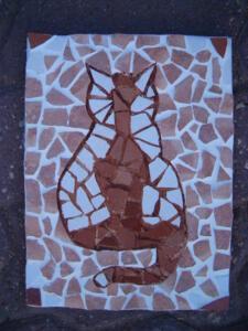 Macska mintás mozaik készítés csempéből