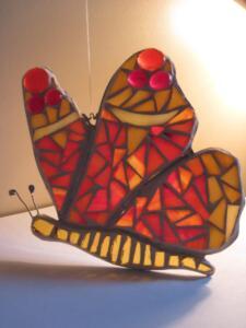 Üvegmozaik készítés, pillangó minta