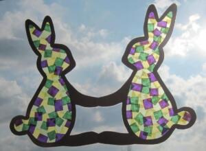 Papírmozaik húsvéti ablak dekoráció